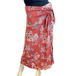 Free People burnt orange floral maxi tie skirt- 4